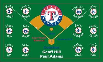 Rangers Baseball Banner - Custom Rangers Baseball Banner