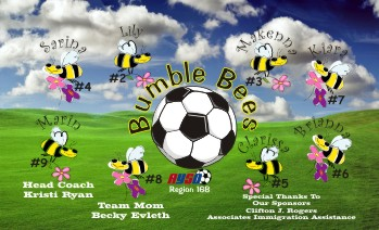 Bees Soccer Banner - Custom Bees Soccer Banner