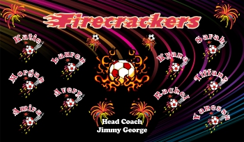 Firecrackers Soccer Banner - Custom Firecrackers Soccer Banner