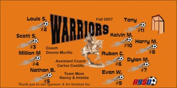 Warriors Soccer Banner - Custom Warriors Soccer Banner