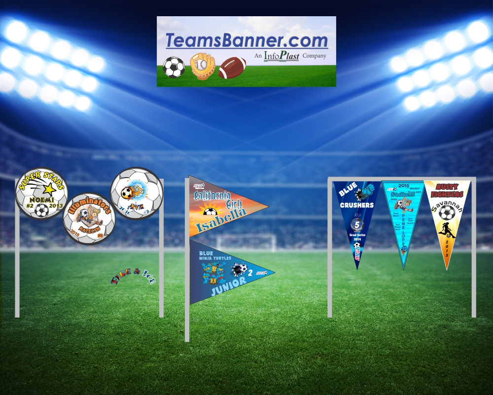 Custom Pennants- TeamsBanner - Soccer, Baseball,Softball